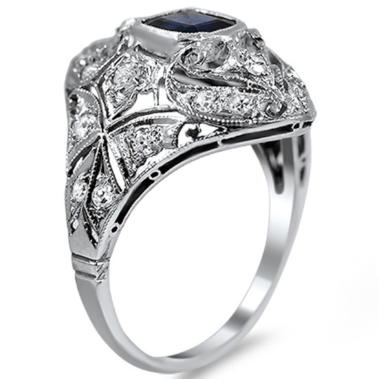 Emerald Cut Sapphire Ring with Diamonds