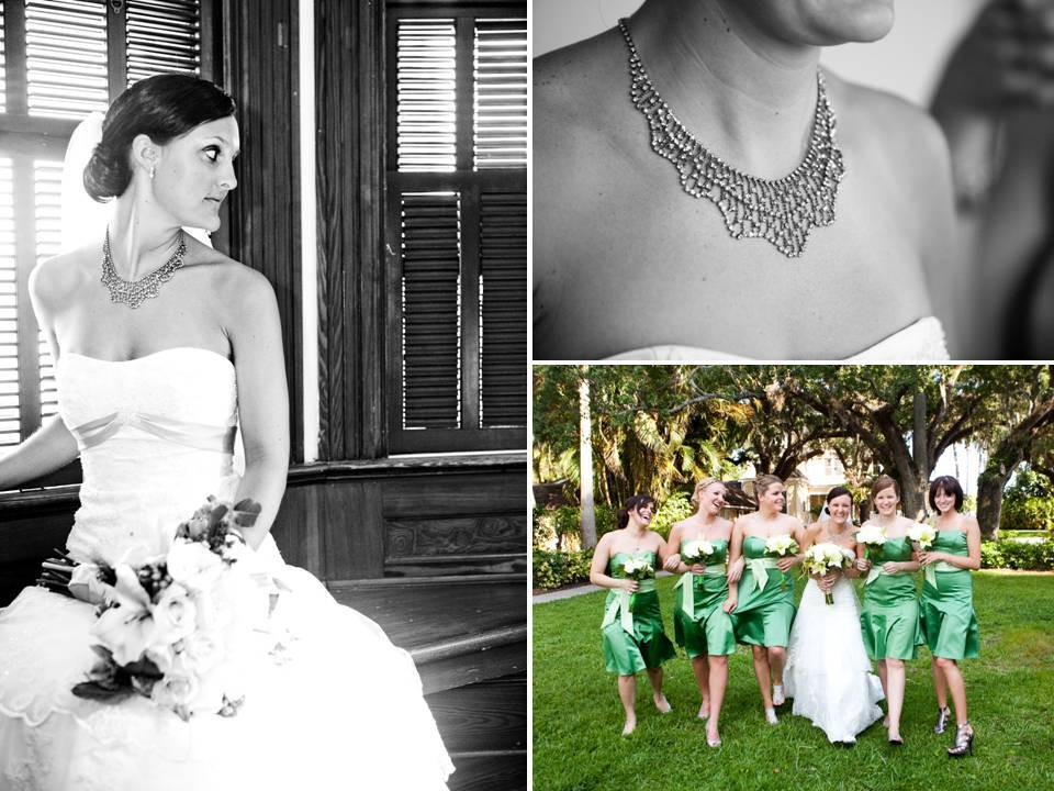 Classic-white-strapless-a-line-wedding-dress-green-strapless-bridesmaids-dresses-statement-bridal-necklace.full