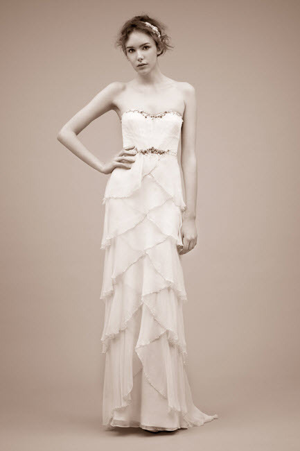 2011 strapless sheath wedding dress with beading detail by Jenny Packham