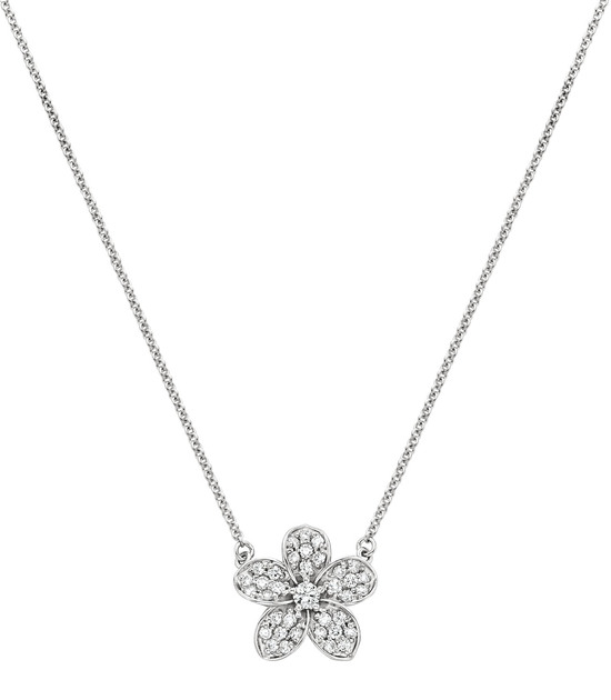 Glittering Floral Diamond Necklace