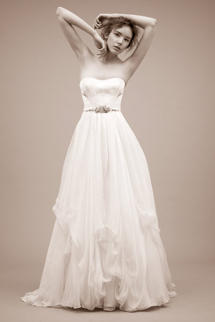 A line strapless wedding dress with jeweled bridal belt by for Jenny beckman wedding dresses