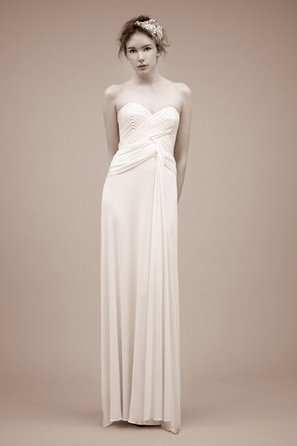 Simple ivory sheath wedding dress with sweetheart neckline, from Jenny Packham's Spring 2011 collect