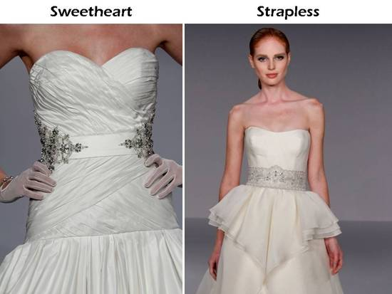 Sweetheart neckline and strapless neckline wedding dresses from Priscilla of Boston