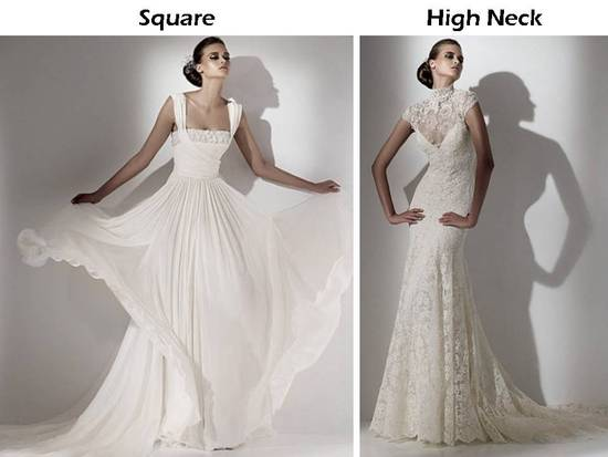Square neckline and high lace neckline wedding dresses from Elie Saab