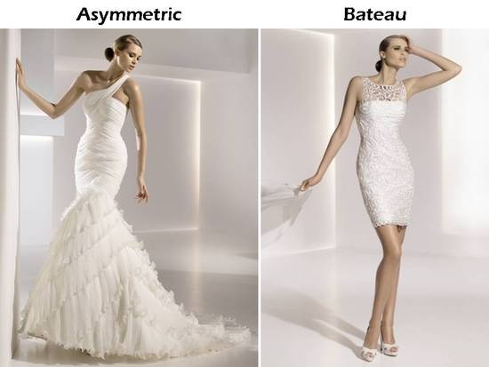 One-shoulder and bateau neck wedding dresses by Pronovias
