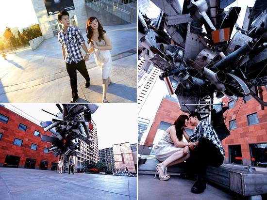LA's museum of contemporary art provides a unique backdrop for engagement session photos