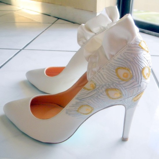 White satin high heel bridal pumps with ruffle detail