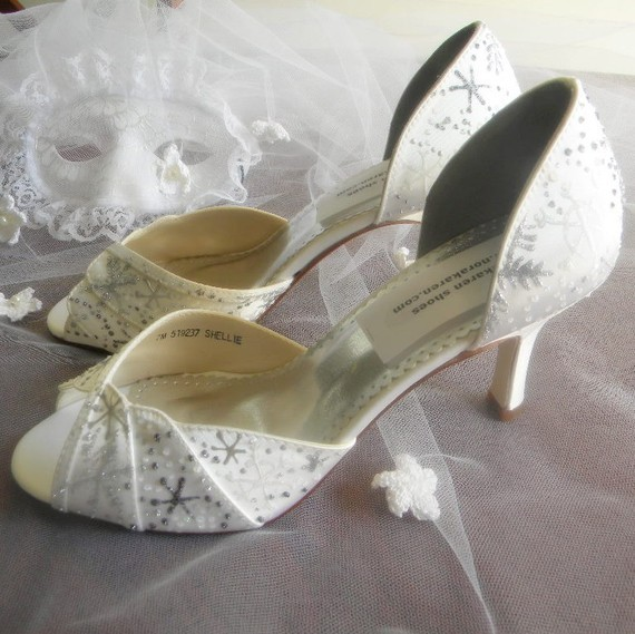 Ivory open toe bridal heels with handpainted silver snowflakes