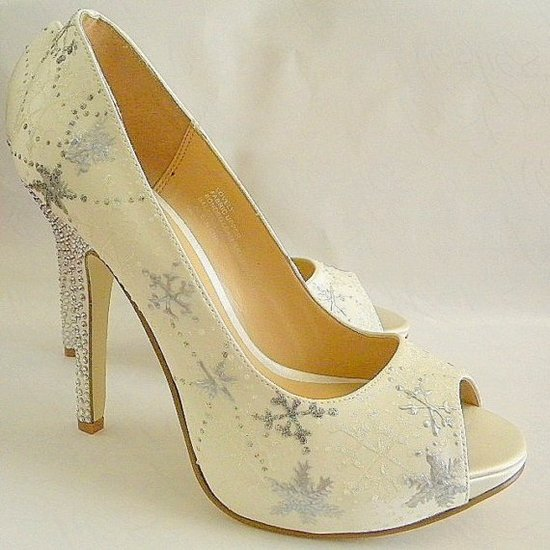 Sky high platform peep-toe ivory bridal heels with hand-painted snowflakes