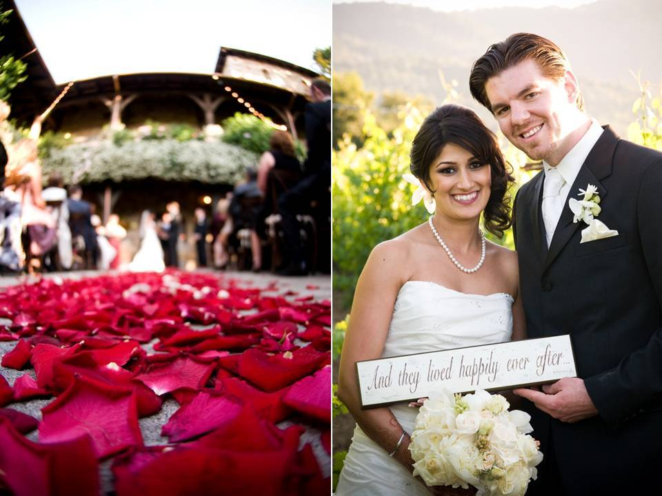 Outdoor Wedding Ceremony In Napa With An Aisle Covered Red Rose Petals