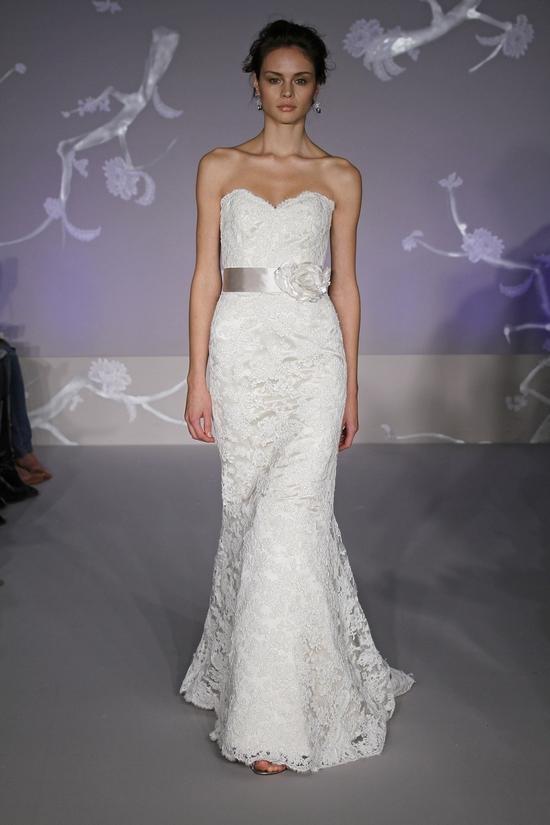 White lace mermaid wedding dress with sweetheart neckline and satin sash