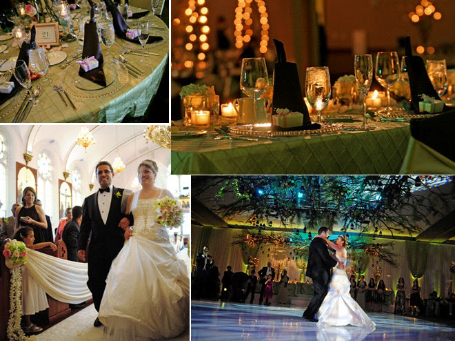 Bride and groom have traditional religious ceremony, and enchanted garden reception