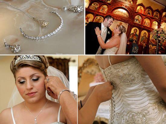 Bride getting ready- beaded ivory wedding dress, platinum and diamond tiara