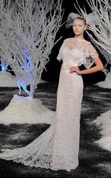 Lace column wedding dress from Douglas Hannant's Fall 2011 bridal collection