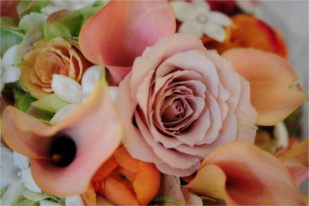 Gorgeous fall wedding flowers- peach roses, orange and ivory accents