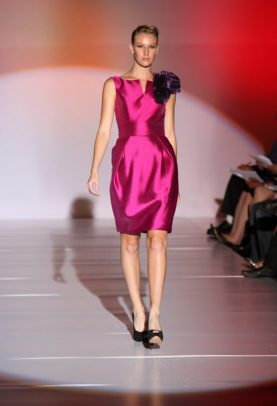 Rasberry satin bateu neck bridesmaid dress with purple flower on shoulder