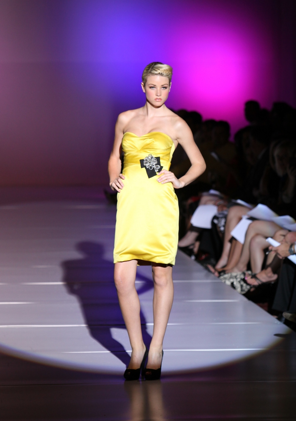 Enzoani-spring-2011-yellow-strapless-above-the-knee-bridesmaid-dress-black-belt.full
