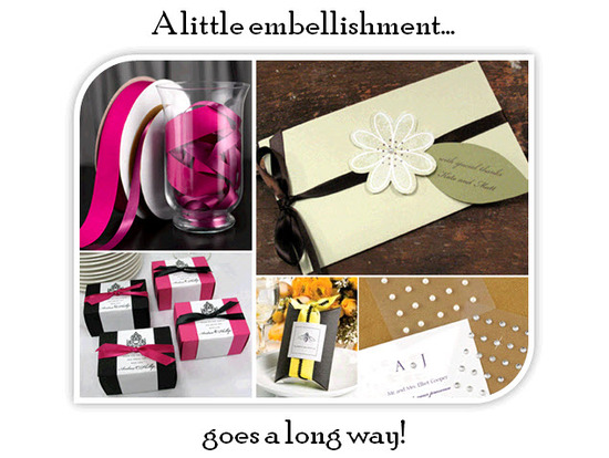 Add a satin ribbon, rhinestone or pearl to your professionally printed wedding invitations!
