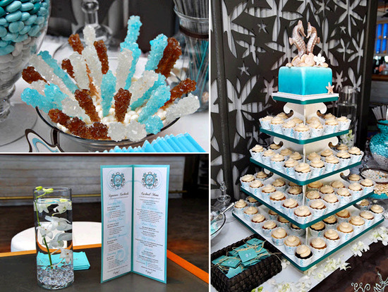 Wedding reception dessert bar- aqua and ivory cupcake tree, rock candy pops, sea horse wedding cake