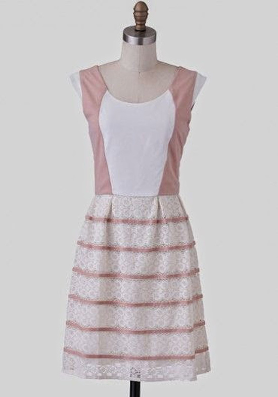 Pink and White Color Block Dress