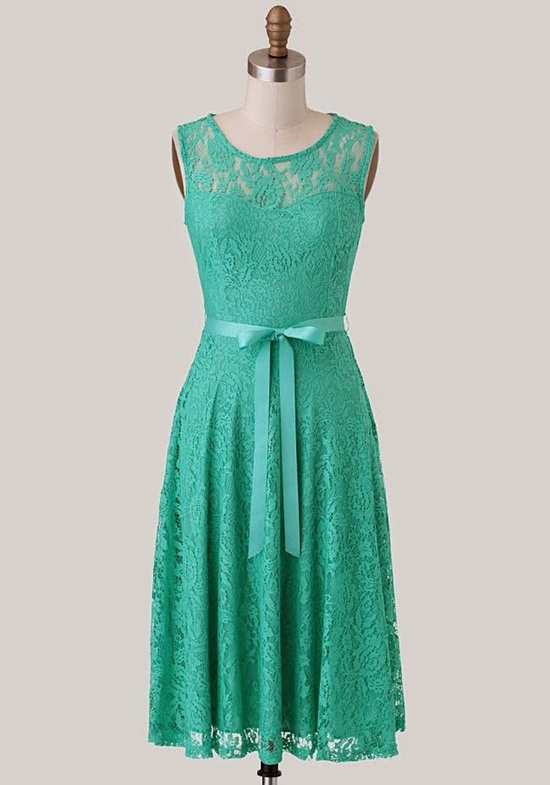 Tasteful Teal and Lace Short Dress