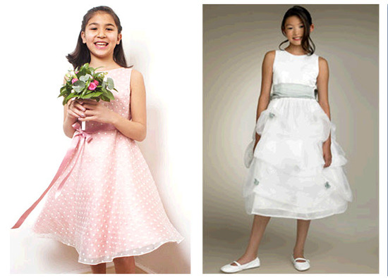 Pink with white polka dots junior bridesmaid dress; white tiered tea length dress with blue sash