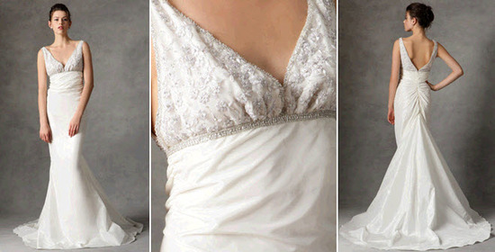 Deep v-neck empire mermaid wedding dress from Reem Acra, available in Gilt's Wedding Shop