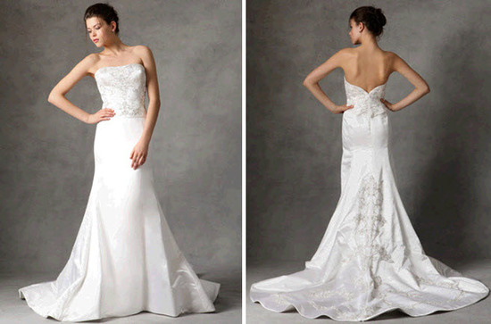 Score this strapless beaded fit and flare Reem Acra wedding dress from Gilt.com