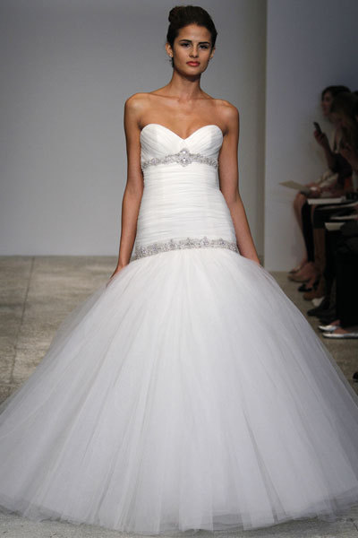 Drop waist white ballgown with jeweled beading by Kenneth Pool