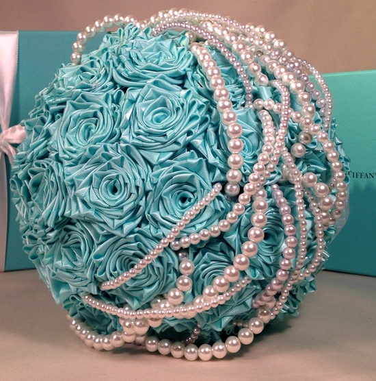 Tiffany Blue Satin Bridal Bouquet