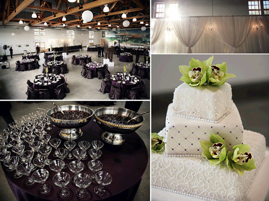 Chic wedding reception decor- white, green, purple with crystals galore! Classic white wedding cake