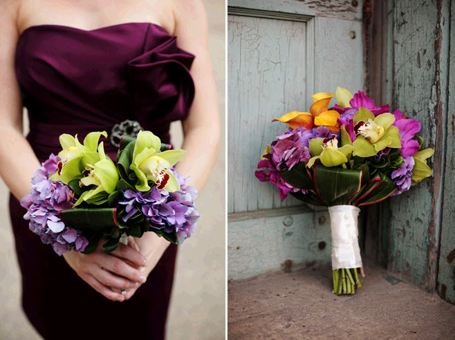Bridesmaid in maroon strapless cocktail dress holds beautiful bouquet of orchids and hydrangeas