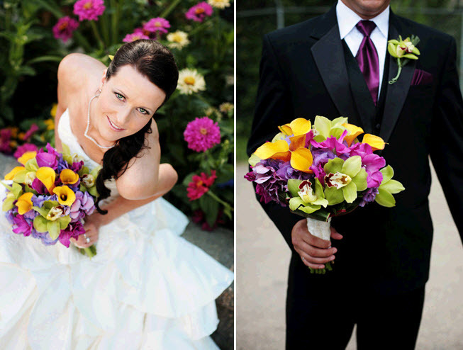 Vibrant-wedding-flowers-bright-yellow-green-purple-orchids-bride-wears-white-wedding-dress-groom-in-black-tux.full
