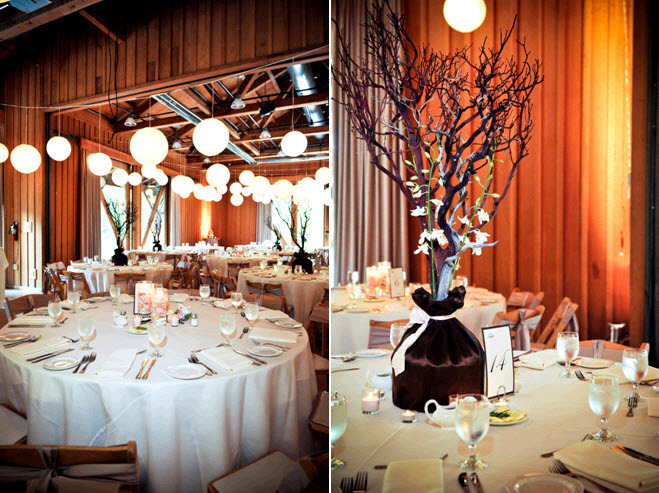 Rustic Wedding Reception Venue With High Fl Centerpieces Featuring Manzanilla Branches