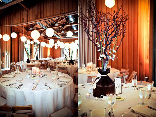 Wedding reception decorations rustic : Rustic wedding reception venue with high floral