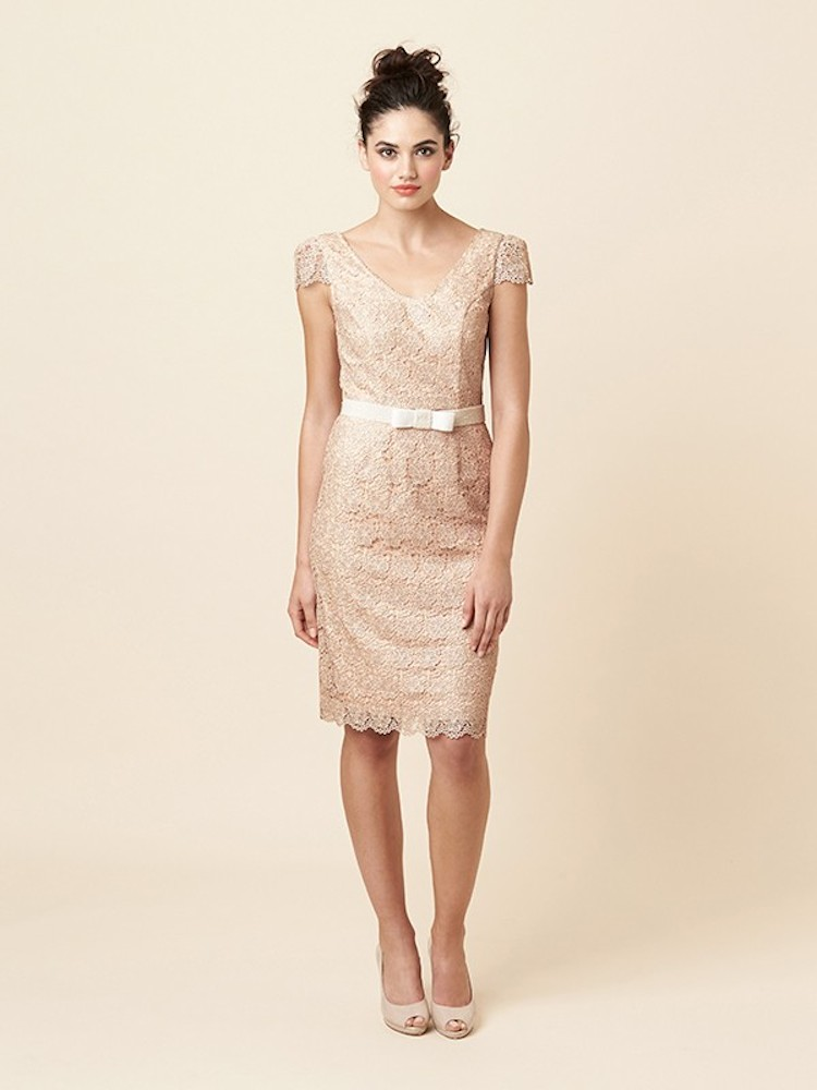Short champagne and lacy bridesmaid dress for Short champagne wedding dress