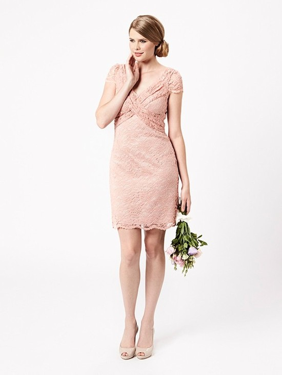 Blush Pink Lacey Bridesmaid Dress