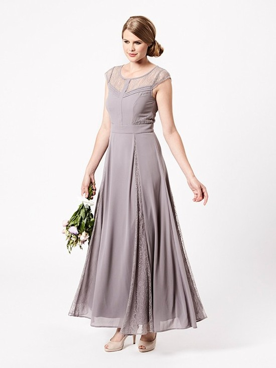 Pewter Floor Length Bridesmaid Dress with Lace Inserts