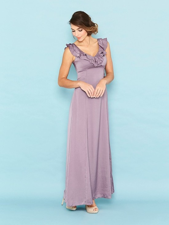 Mauve Bridesmaid Dress with Frilly Neckline