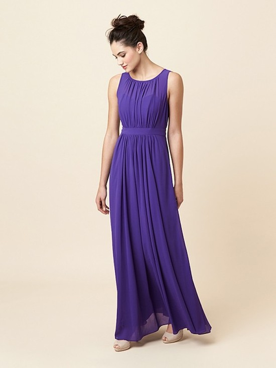 Sophisticated Amethyst Floor Sweeping Gown