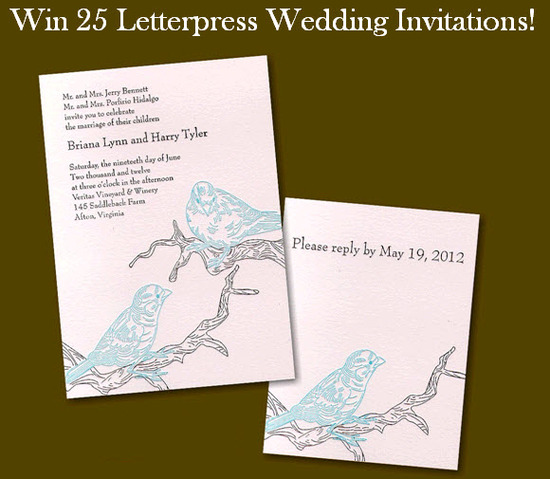 photo of Win 25 Stunning Letterpress Wedding Invitations!