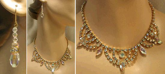 Vintage gold and rhinestone bridal necklace and earrings set