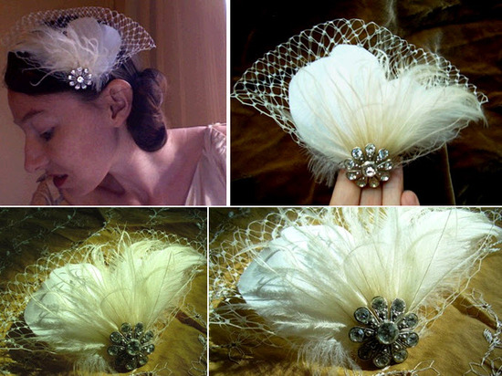 photo of Cruelty-free feather bridal headpiece