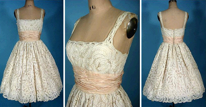 Vintage-bridal-style-wedding-reception-dress-lace-ivory-pink-sash.full
