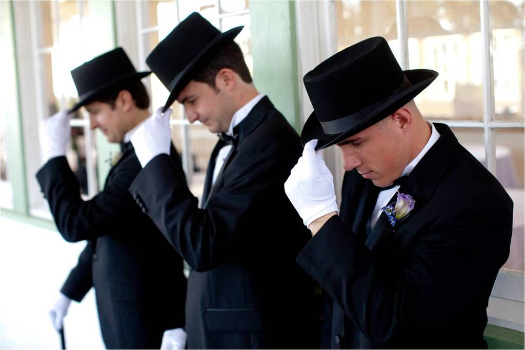 Austin Tx Wedding Ushers Dress Like Wild West Gentleman Complete With Black Top Hats White Glove