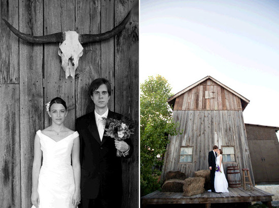 Austin, TX bride and groom take photos outside rustic ranch wedding venue