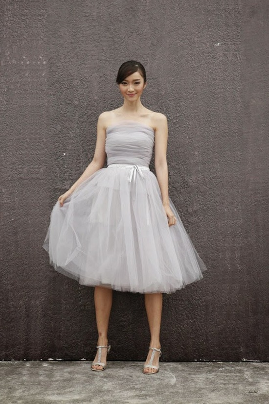 Light Grey Tulle Wedding Skirt
