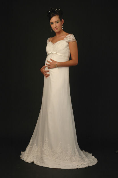 Lovely white lace empire maternity wedding dress by Sarah Houston
