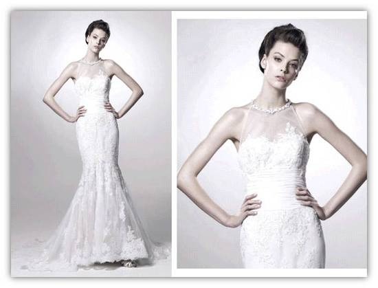 Romantic lace mermaid Spring 2011 wedding dress with high illusion neckline