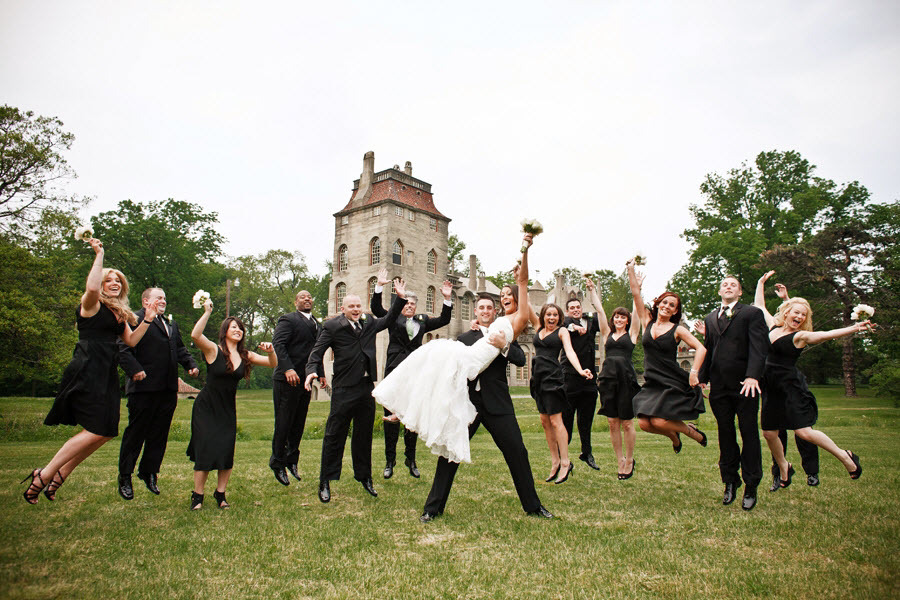 Intimate-outdoor-pennsylvania-wedding-entire-wedding-party-black-bridesmaids-dresses-tuxedos.full